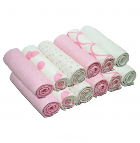 4baby Cotton Muslin Squares (12 Pack) Mixed Designs - Pink